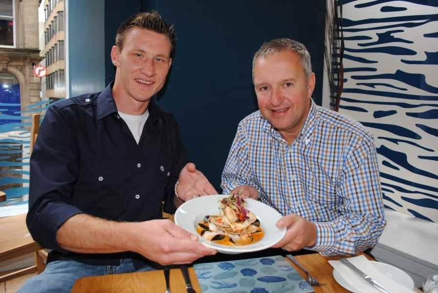Mussel Inn's Matt Johannson with Stephen Cameron of the Scottish Shellfish Marketing Group
