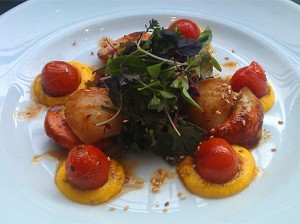 Pan fried king scallops with a herb salad, cherry tomatoes and a saffron and carrot puree