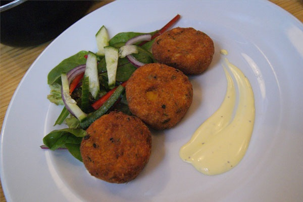 ... with mixed leaves served with a light lemon and saffron mayonnaise