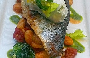 Grilled Fillet of Sea Bass on Chorizo and Butter Bean Cassoulet with Salsa Verde Recipe