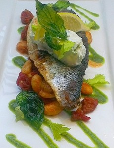 Grilled Fillet of Sea Bass on Chorizo and Butter Bean Cassoulet with Salsa Verde