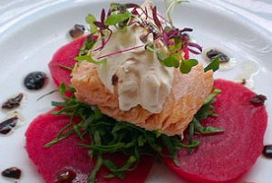 Hot Smoked Salmon with Candy Beetroot, Spinach and Horseradish Mousse Recipe