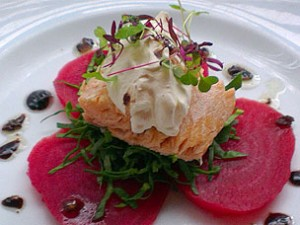 Hot smoked salmon with candy beetroot, spinach and horseradish mousse