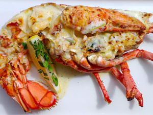 Lobster Thermidor: a sumptuous, gourmet seafood treat from Mussel Inn.