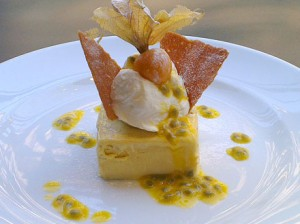 Mango Parfait with Passion Fruit Sauce and Honey Wafer