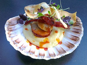 King Scallops in the Shell with Parsnip Puree, Chorizo Sausage and Parsnip Crisps