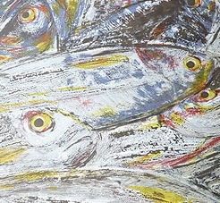 Large Fish – Carcassonne Market. Screen print by Doreen Boogert.