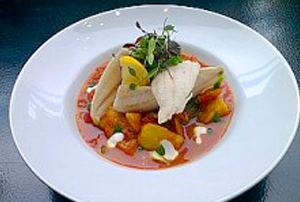 Grilled Haddock Fillet on a Curried Vegetable Stew Topped with Crème Fraiche Recipe