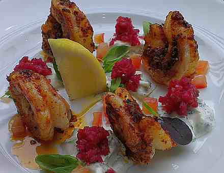 Piri Piri Tiger Prawns With Spiced Onion And Cuber Raita