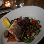Grilled Seabass on a bed of fresh salad – another healthy option from Mussel Inn