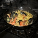Mussels, gambas, queen scallops, crayfish tails and fettuccini in a shellfish bisque