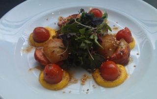 Pan-Fried King Scallops with a Herb Salad, Cherry Tomatoes and a Saffron Carrot Puree