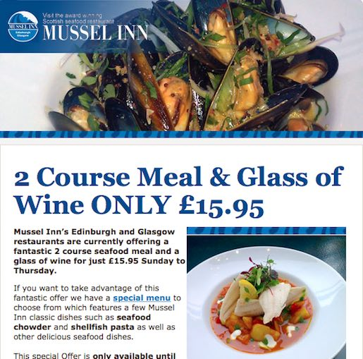 Mussel Inn email newsletter