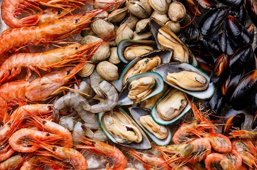 Mussels, clams and prawns