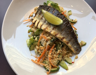 Char-grilled Sea Bass fillet served on a rice noodle salad